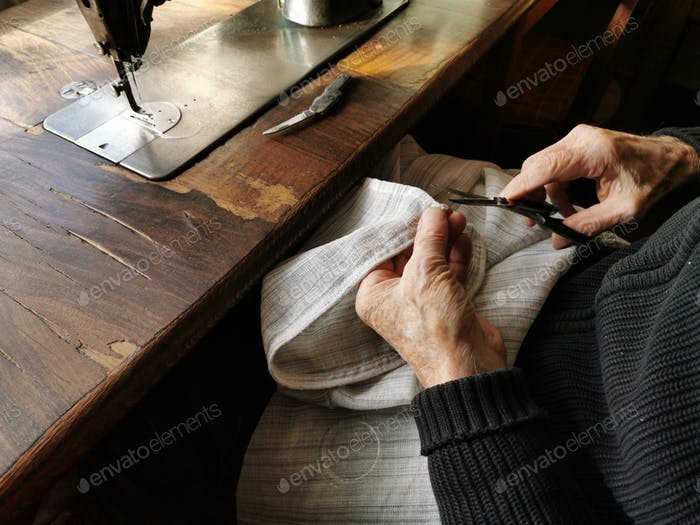 Old hand holding scissors, old man, tailor, Senior, senior adult, senior men, Tailor Sewing, Sewing
