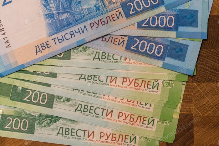 Russian bills. Russian banknotes. 200 and 2000 roubles