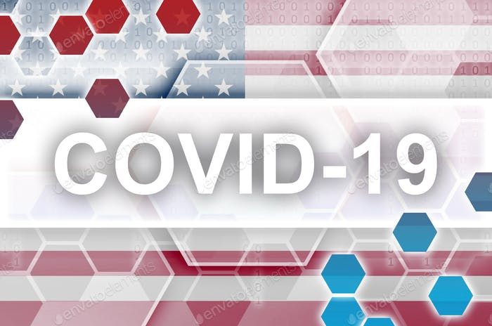 United States of America flag and futuristic digital abstract composition with Covid-19 white
