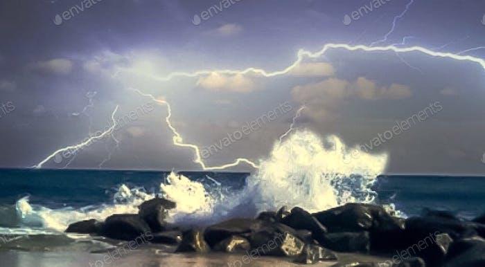 Stormy costal weather