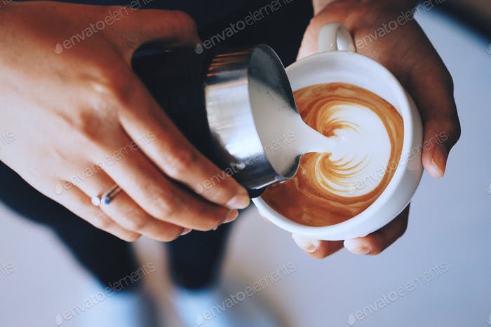 Coffee latte art by coffee master