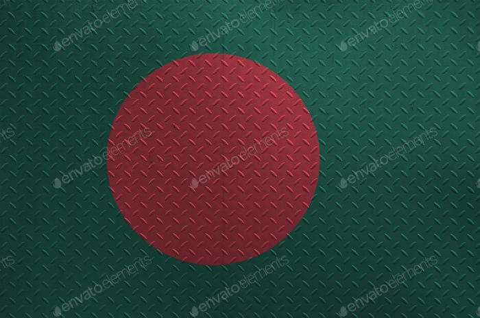 Bangladesh flag depicted in paint colors on old brushed metal plate or wall close up