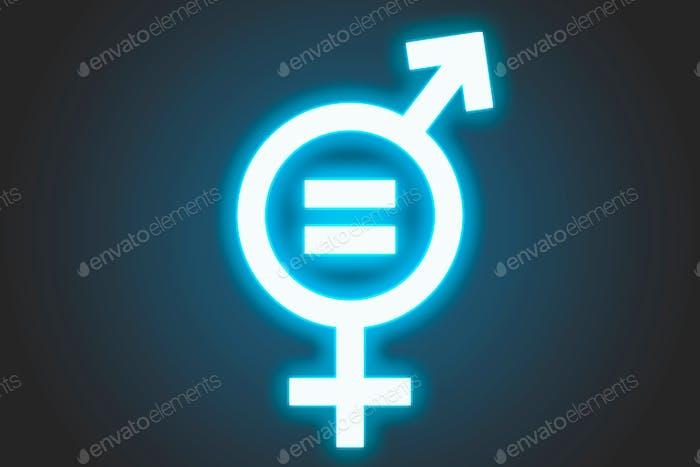 Fondo con signo de neón de igualdad de género color azul