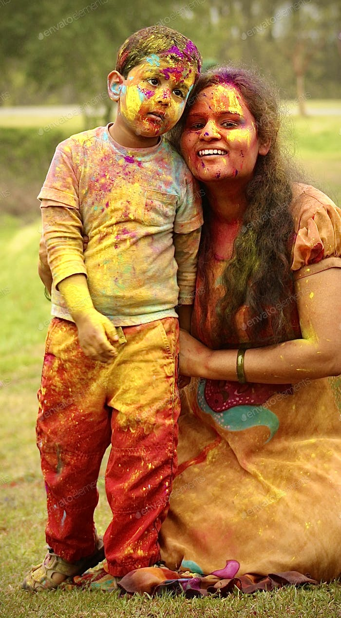 Holi colors and family fun