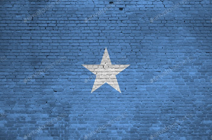 Somalia flag depicted in paint colors on old brick wall close up
