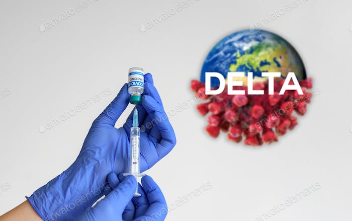 Close-up of hands holding syringe and covid vaccine vial on white background with delta variant text