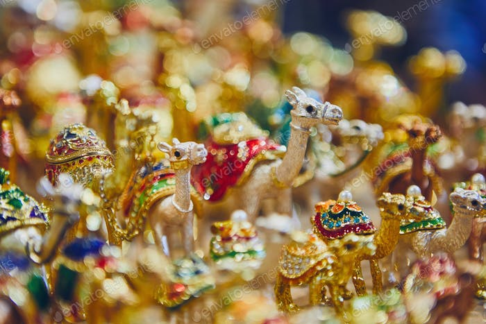 Close-up view of souvenirs of camels for sale at souq in Muscat, Sultanate of Oman.