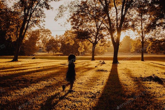 Child's silhouette in Autumn