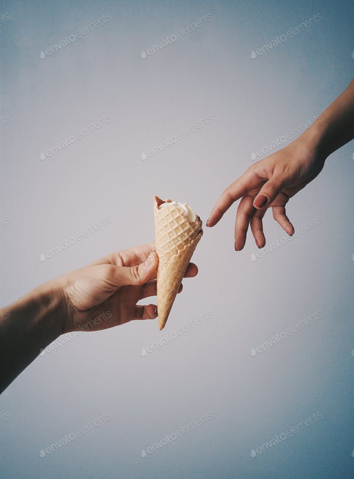 Creation of icecream. Concept of reproduction for creation of Adam with icecream