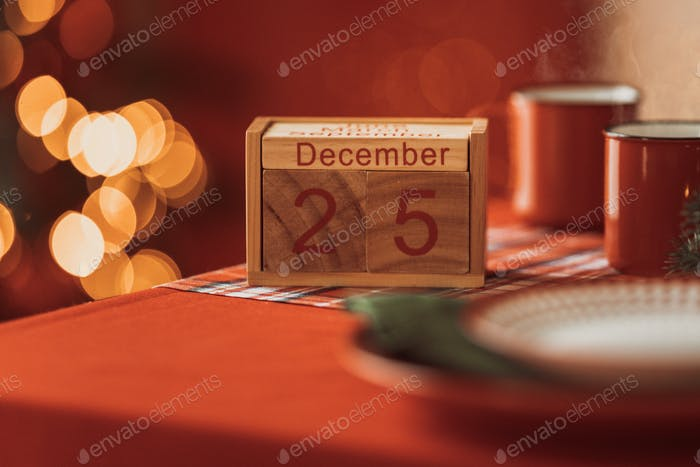 calendar with christmas date 25 december in a festive atmosphere