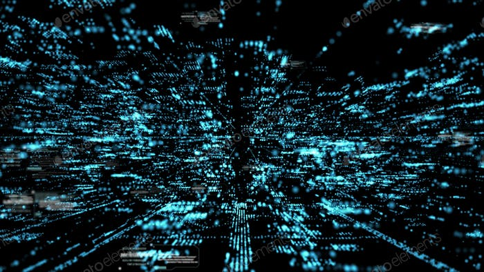 Digital matrix particles grid virtual reality abstract cyber space environment background
