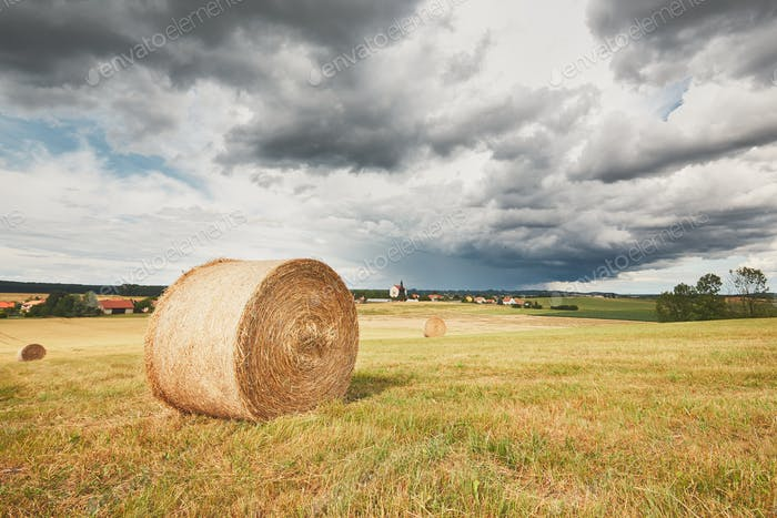 The storm is coming. Poor weather and agricultural landscape, Czech Republic