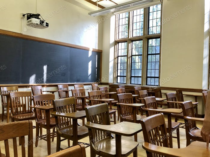 An Empty college classroom during Covid19 pandemic.