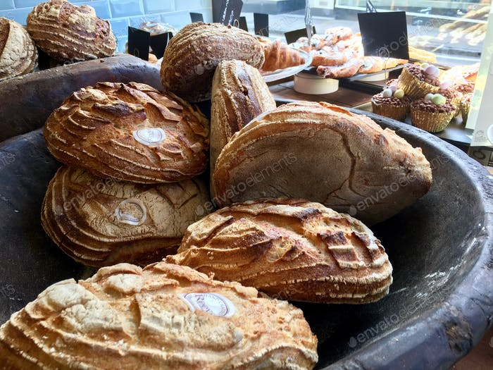 Delicious bread in a small business bakery