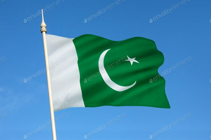 The national flag of Pakistan - adopted in its present form during a meeting of the Constituent