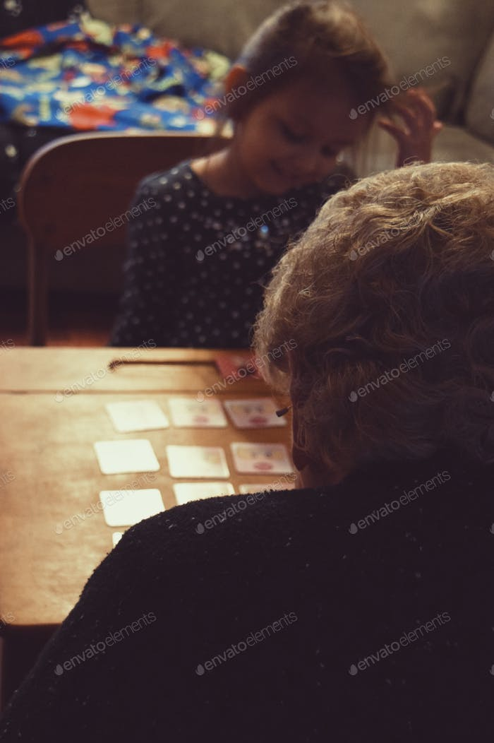 Playing cards with her Great-Grandma ❤️