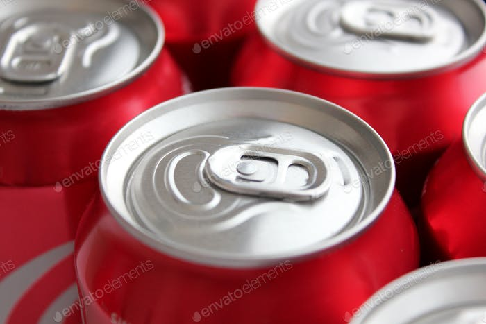 Close up of the ring pull on aluminium Coca Cola soda cans