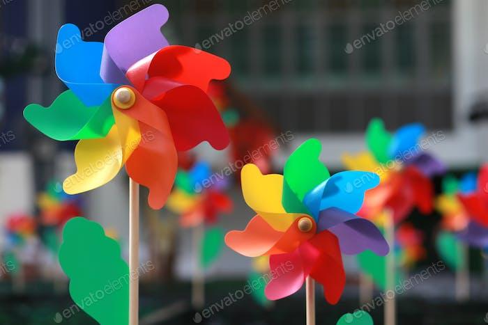 colourful windmills.