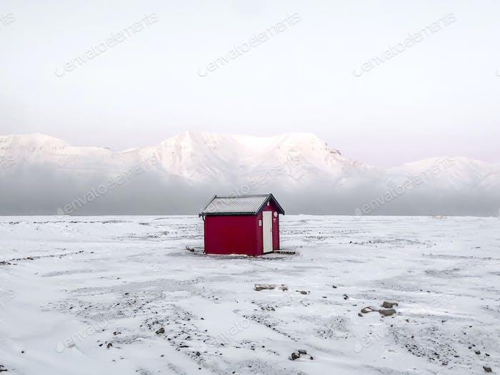 Svalbard Winter Contrast Minimalism Red House Mountains White Landscape Shpitzbergen