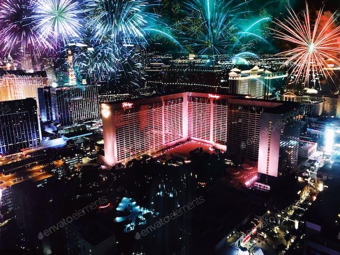 NYE fireworks in Las Vegas