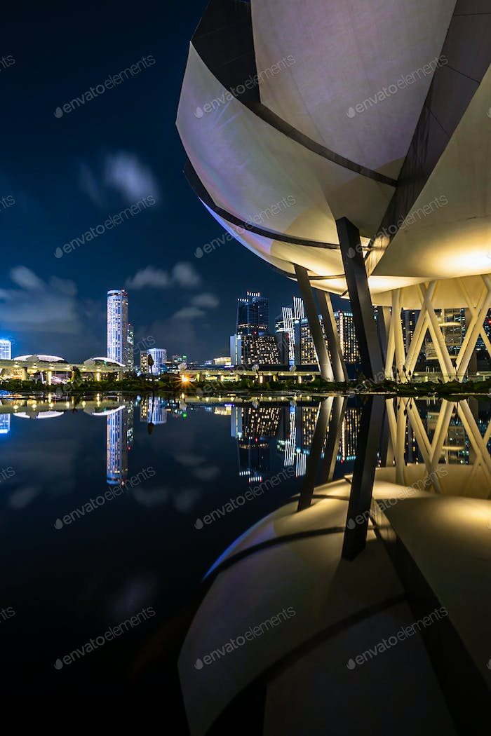 Reflection view from ArtScience Museum in Singapore at night.