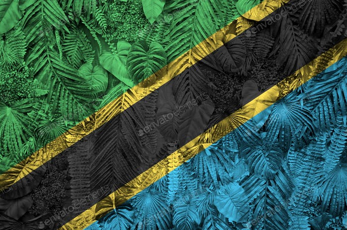 Tanzania flag depicted on many leafs of monstera palm trees. Trendy fashionable background