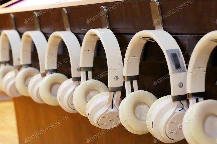 Various of white earphones