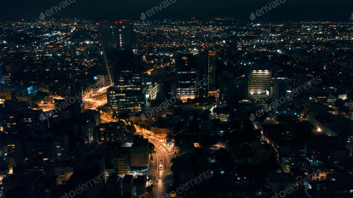 Mexico City, Mexico, 07/01/18. Aerial view of Mexico City at night.