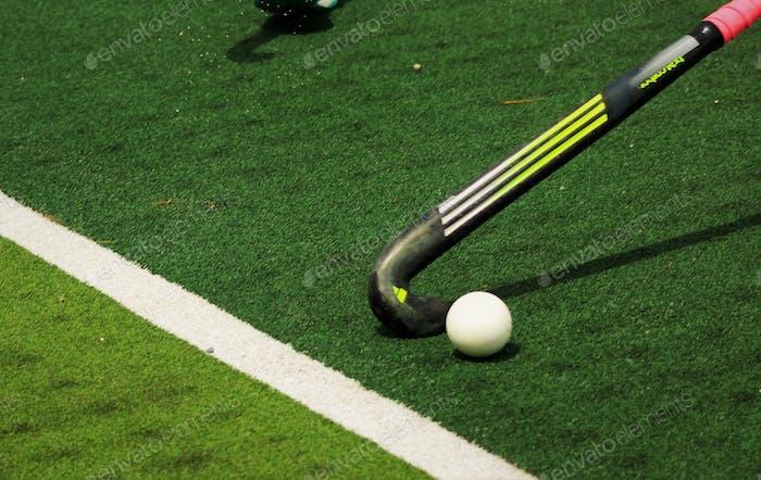 Field hockey stick and ball.