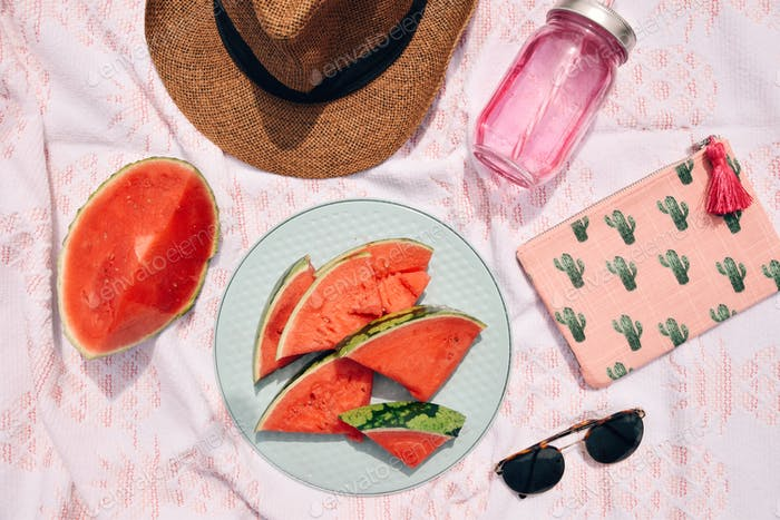Summer flat lay items