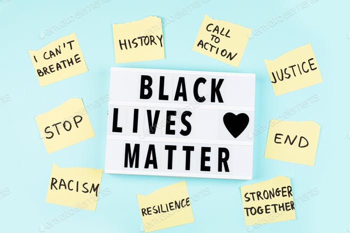 Black Lives Matter phrase in lightbox on blue background