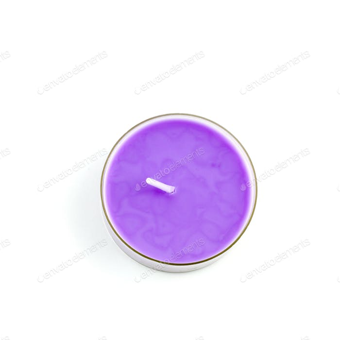 violet candle top view isolated on white