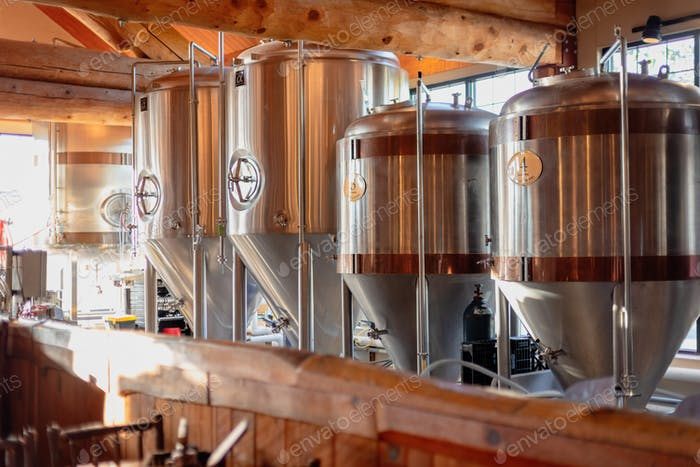 Fermenting tanks at a brewery