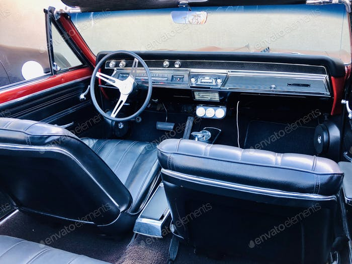 Interior view of classic convertible car