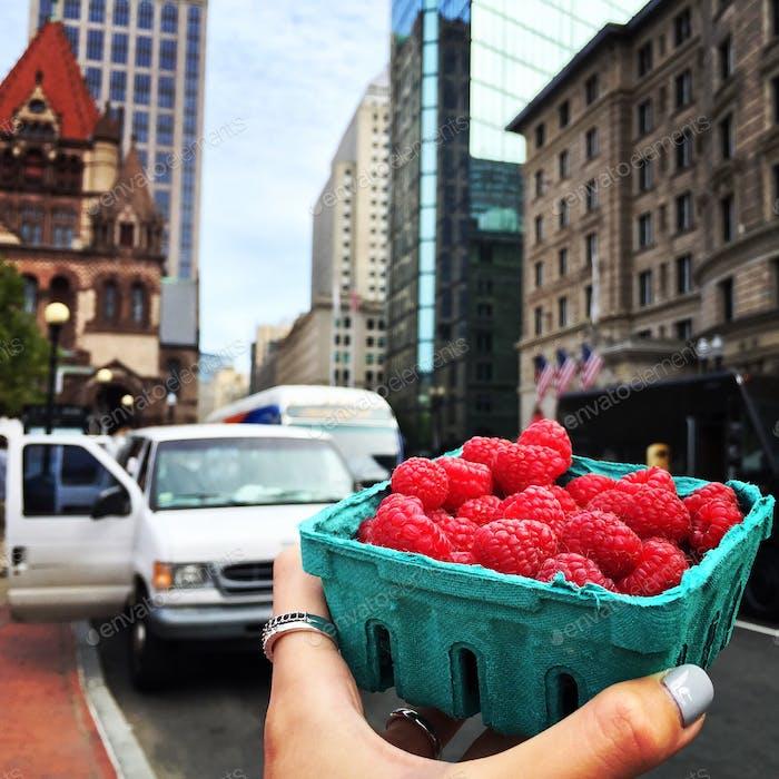 Eating in Boston.