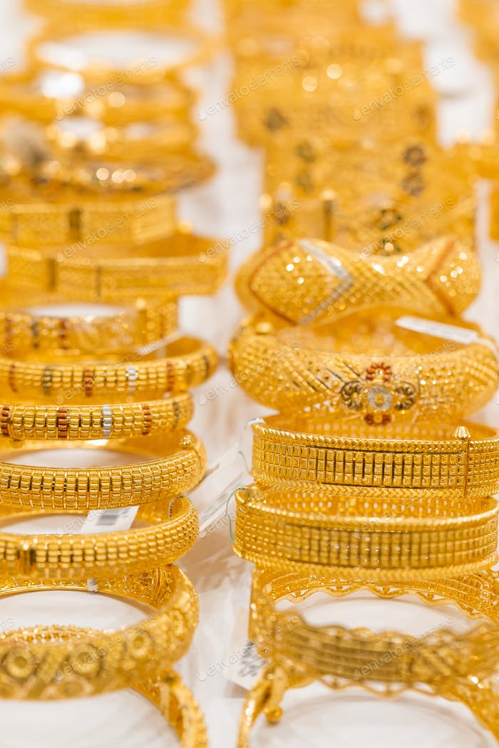 Golden jewelry at golden market in Deira, Dubai