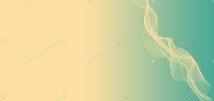 Digital Illustration of waves and particles. Curvy and swirly wireframe on pastel background.