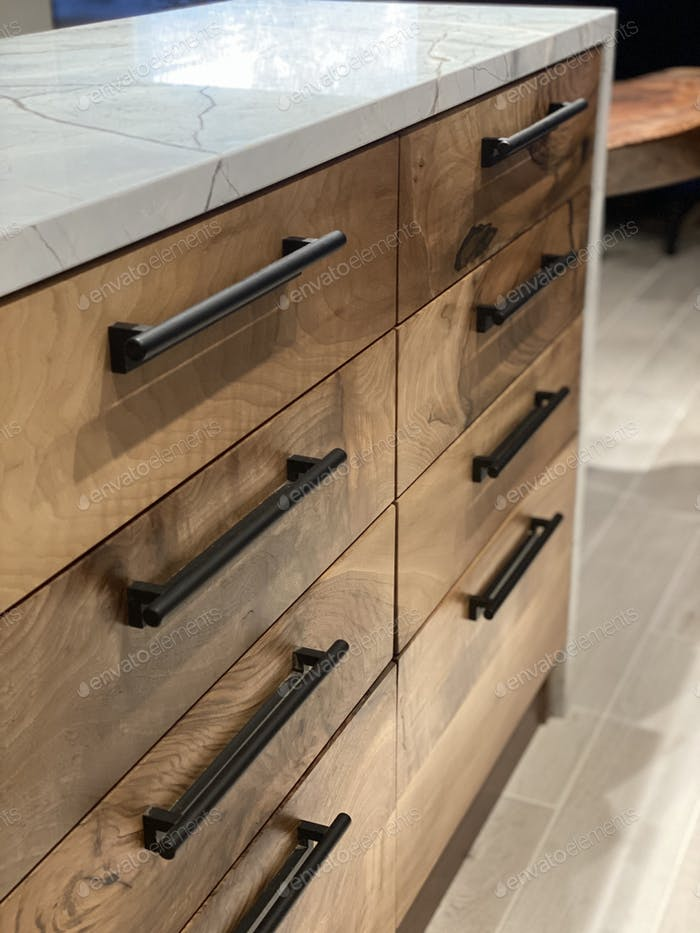 Cabinet drawers and handles hardware walnut wood decor