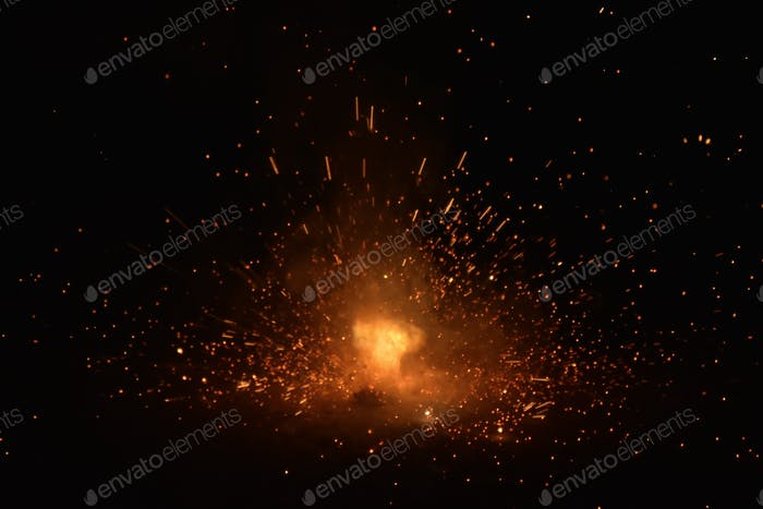 Burning sparks flying