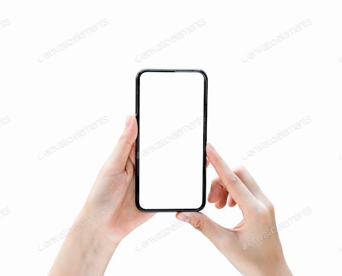 Mantener la mano la pantalla en blanco del teléfono inteligente en aislamiento Tome su pantalla para poner en publicidad.