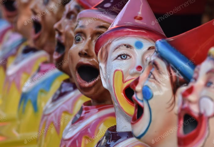 Fun at the fair with laughing clowns