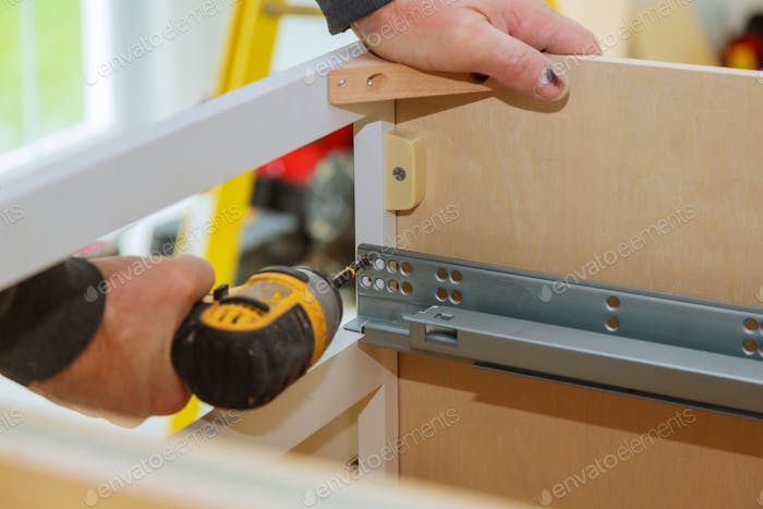 Mounting furniture with screwdriver fixing cabinet drawers hinge adjustment cabinet