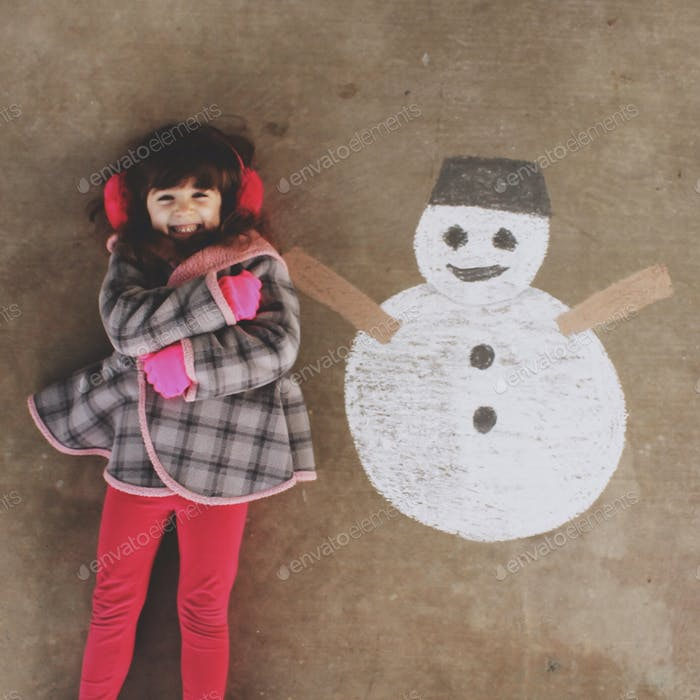 Chalk drawing of a snowman with a little girl.