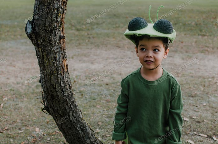Boy dressed as a bug