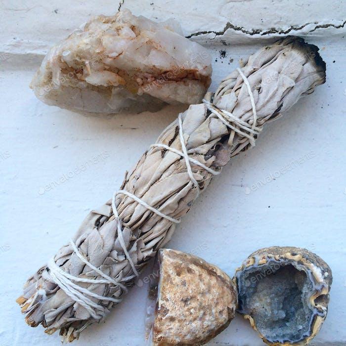Z made of sage and gemstones