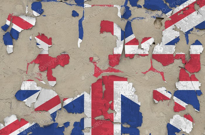 Great britain flag depicted in paint colors on old obsolete messy concrete wall close up