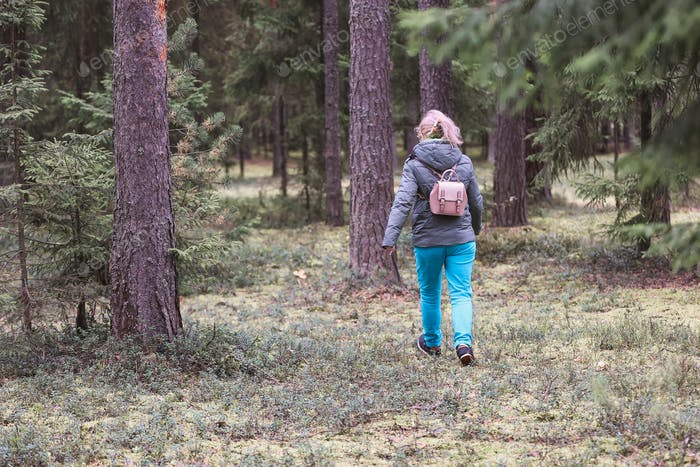 Woman exploring autumn nature in forest