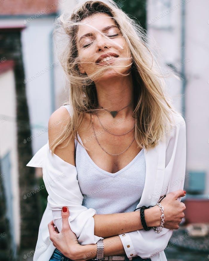 Emotional portrait of happy woman