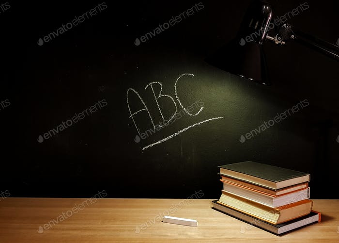 ❤nominated❤ Abc written on a blackboard with white chalk