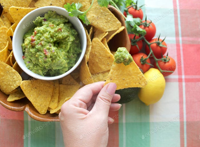 Fresh guacamole and corn chips for Cinco de Mayo